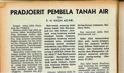 Tulisan Mbah Hasyim Tahun 1943: 'Prajurit Pembela Tanah Air'